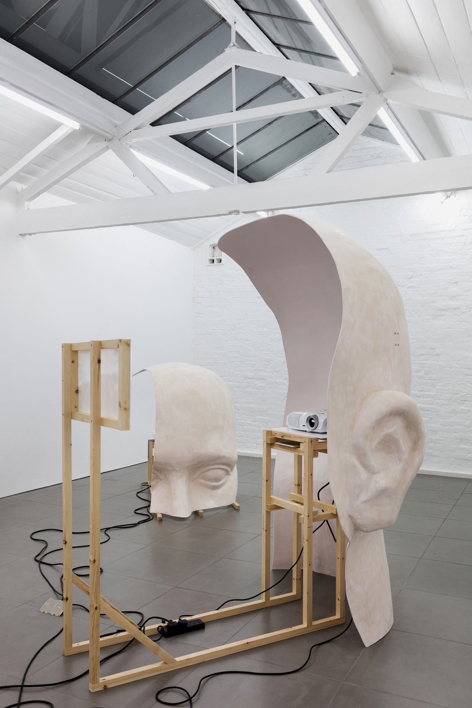 Anne de Vries, Submission, 2015, fibre glass resin, wood, perspex, metal, live stream webcams, four channel audio track: 16 mins 25 secs, dimensions variable. Cell Project Space