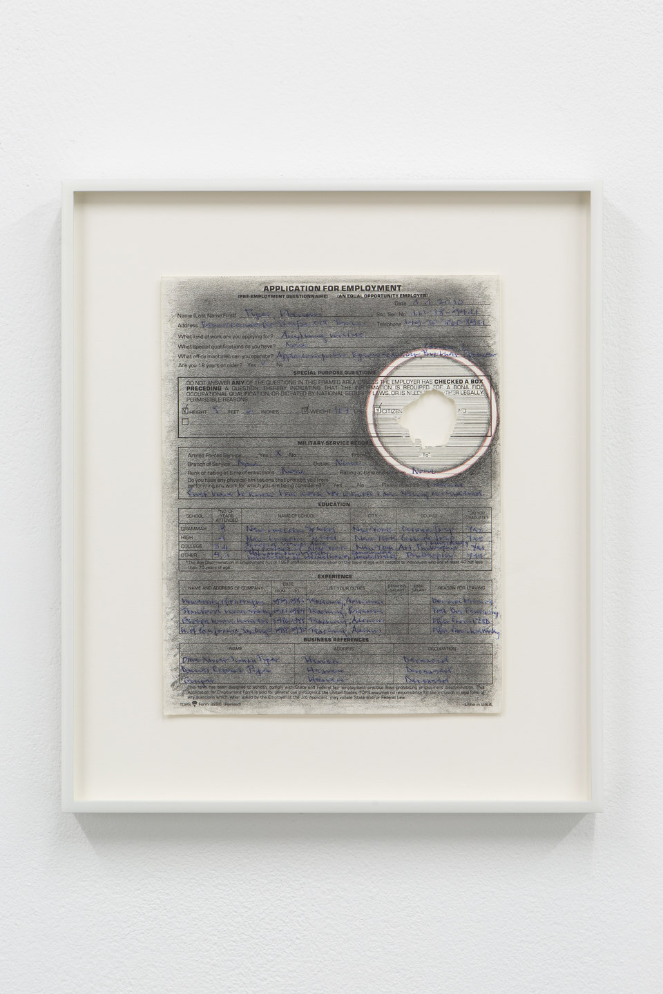 Adrian Piper, 'Vanishing Point #5', 2009, Ball-pen, red ball-point pen, black graphite pencil on application for employment form, sanded with sandpaper, 27.9 x 21.6cm, Civic Duty, 2019, Cell Project Space