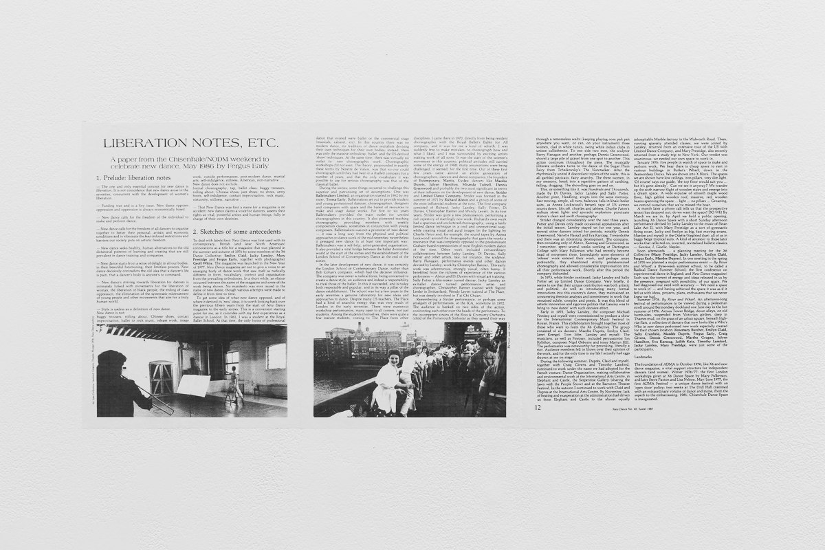 'Liberation Notes, etc.', 1987, Fergus Early, New Dance magazine, Issue 40, p.10-12, X6 Dance Space (1976-80): Liberation Notes, 2020, Cell Project Space