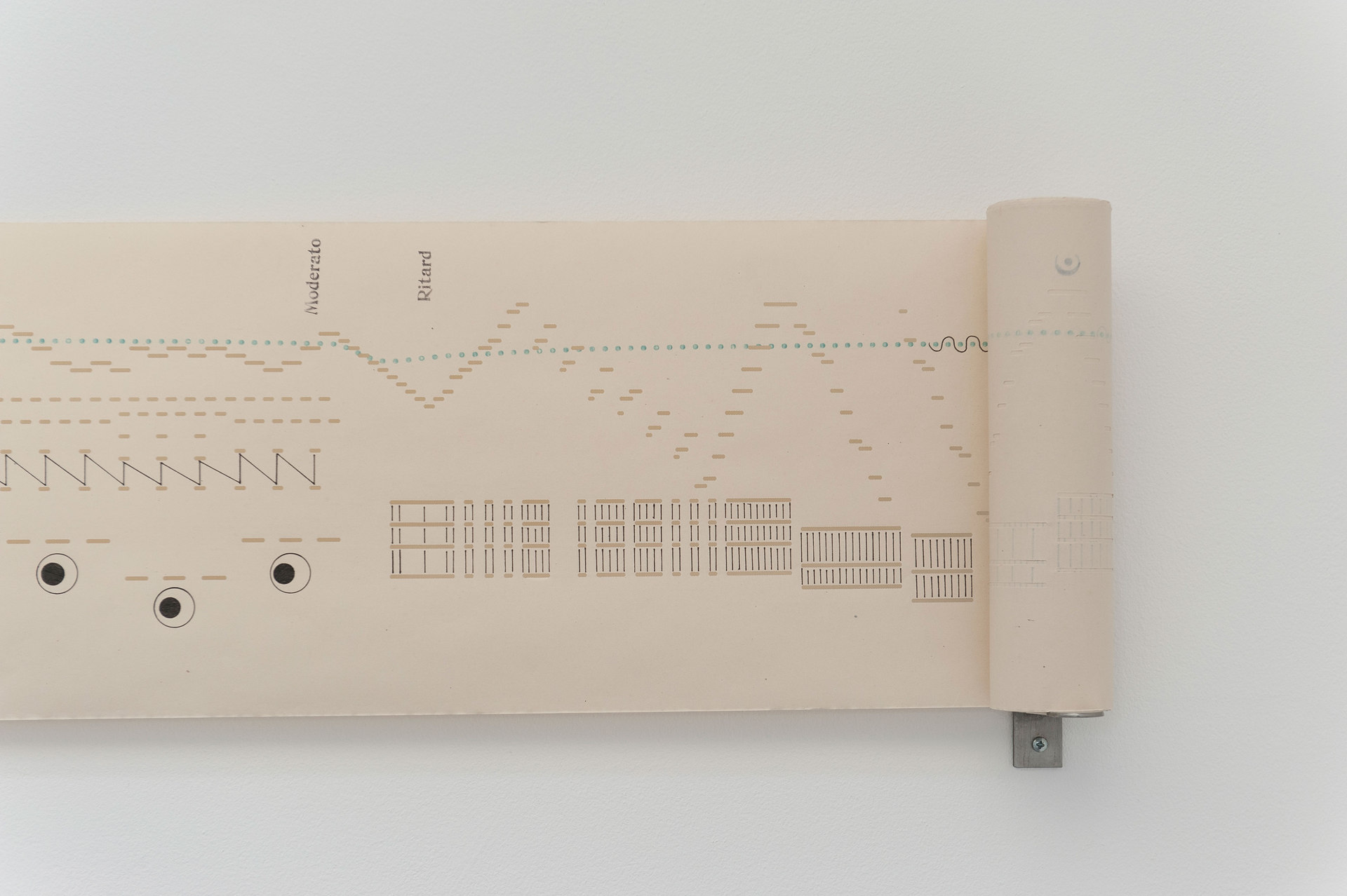 Aura Satz, Visual Score, 2012, 270 x 28.5cm ink drawing on pianola paper, stainless steel, 28.5 x 270 x 14cm, Cell Project Space