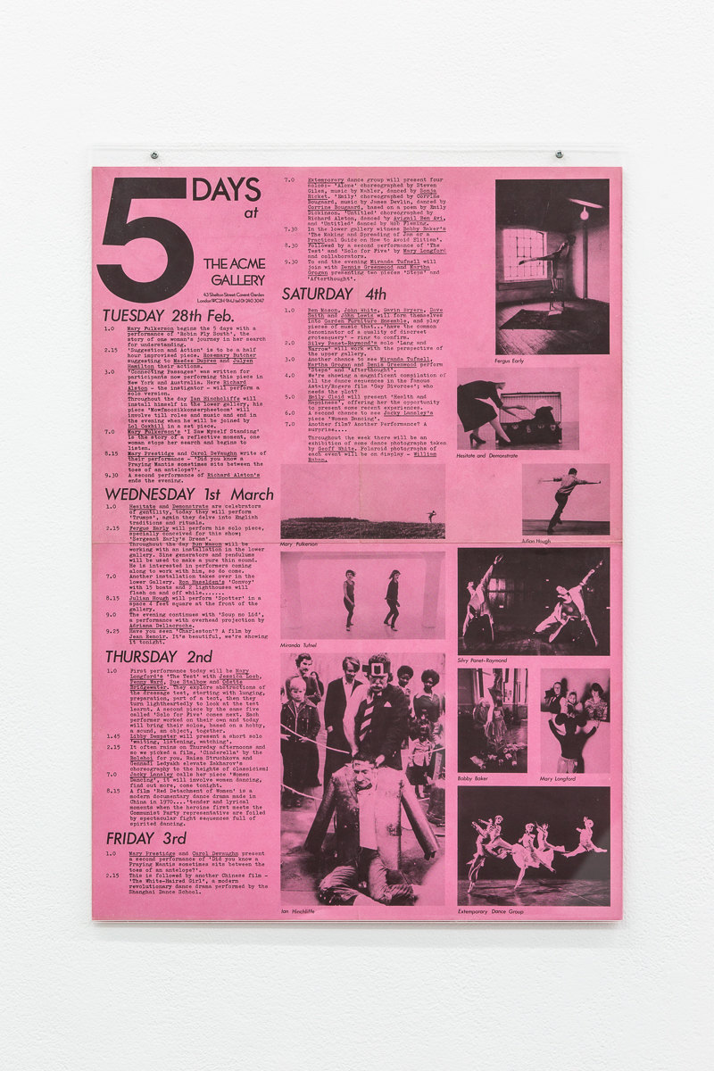 5 Days at ACME Gallery poster, 1978, X6 Dance Space (1976-80): Liberation Notes, 2020, Cell Project Space