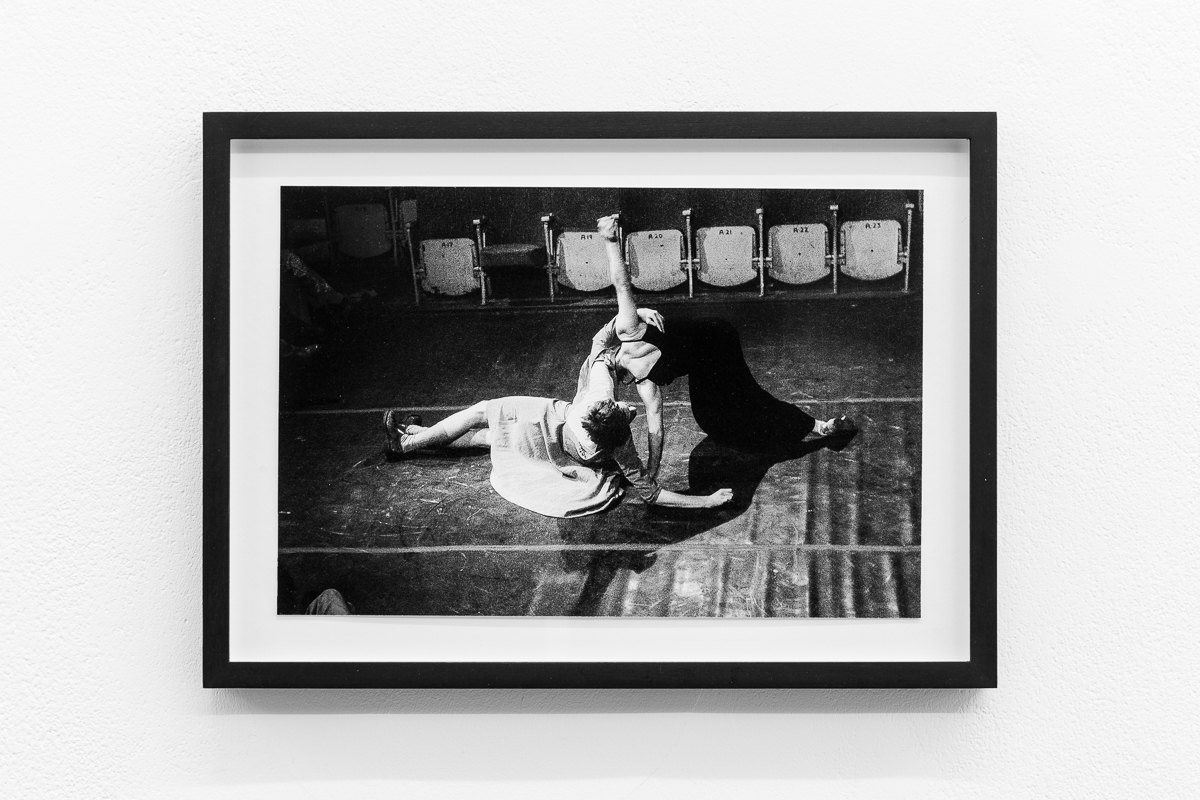 'Manley Struggles', 1978, Fergus Early and Julian Hough, Riverside Studios, Framed c-print, photograph by Geoff White,  35.5cm x 26cm, X6 Dance Space (1976:80): Liberation Notes, 2020, Cell Project Space