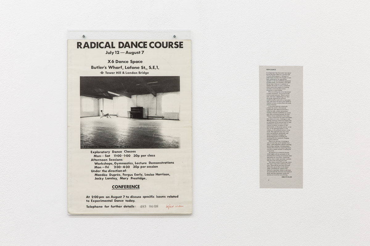 X6 Dance Space (1976-80): Liberation Notes, Installation view: Radical dance course poster, 1976, X6 Dance Space; 'New Dance', 1977, Emilyn Claid, New Dance magazine, Issue 3, p.2, Cell Project Space, 2020