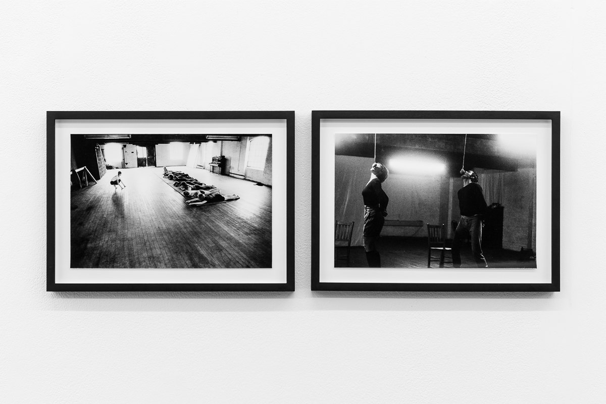 X6 Dance Space (1976-80): Liberation Notes, Acrobatic workshop led by Mary Prestidge, 1978; 'Going Back', 1976, Emilyn Claid and Julian Hough, photographs by Geoff White, Cell Project Space, 2020