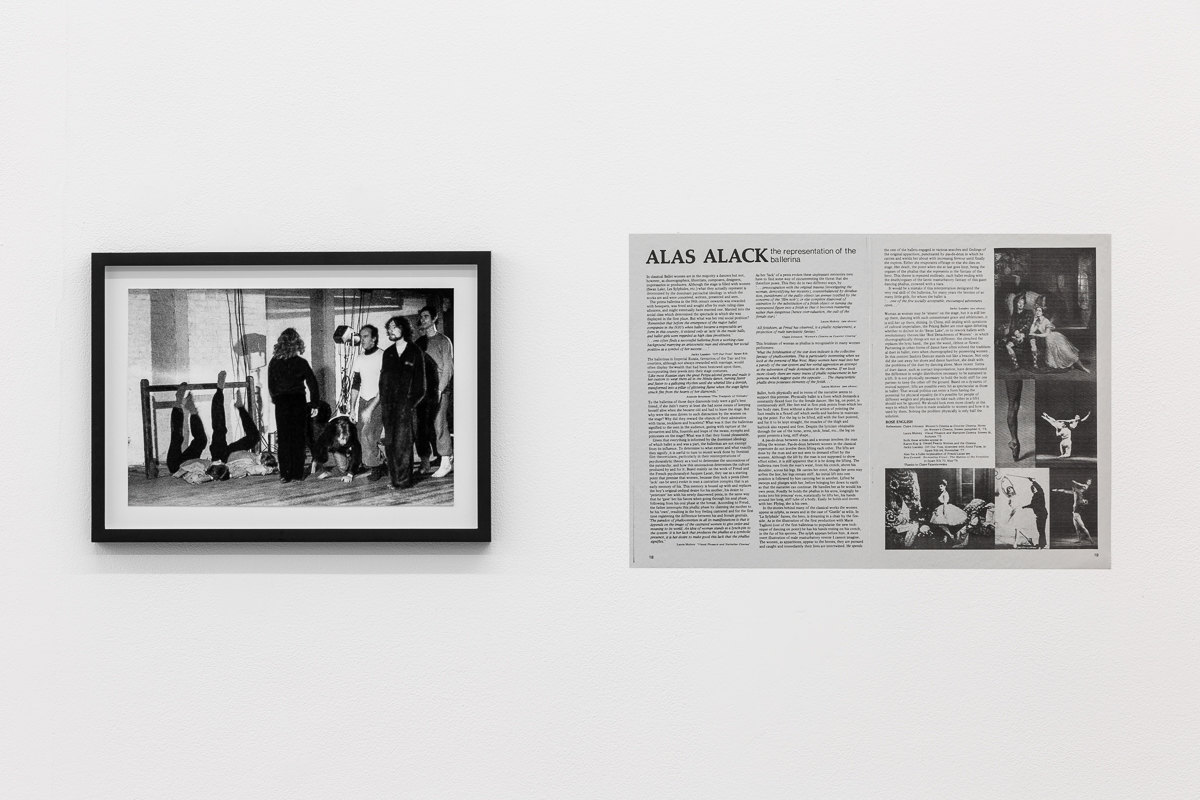 X6 Dance Space (1976-80): Liberation Notes, 'Dancing Ledge', 1977, Jacky Lansley with Rose English & others, X6 Dance Space, Framed c-print, photograph by Geoff White, 35.5cm x 26cm; 'Alas Alack', 1980, Rose English, New Dance magazine, Issue 15, p.18-19
