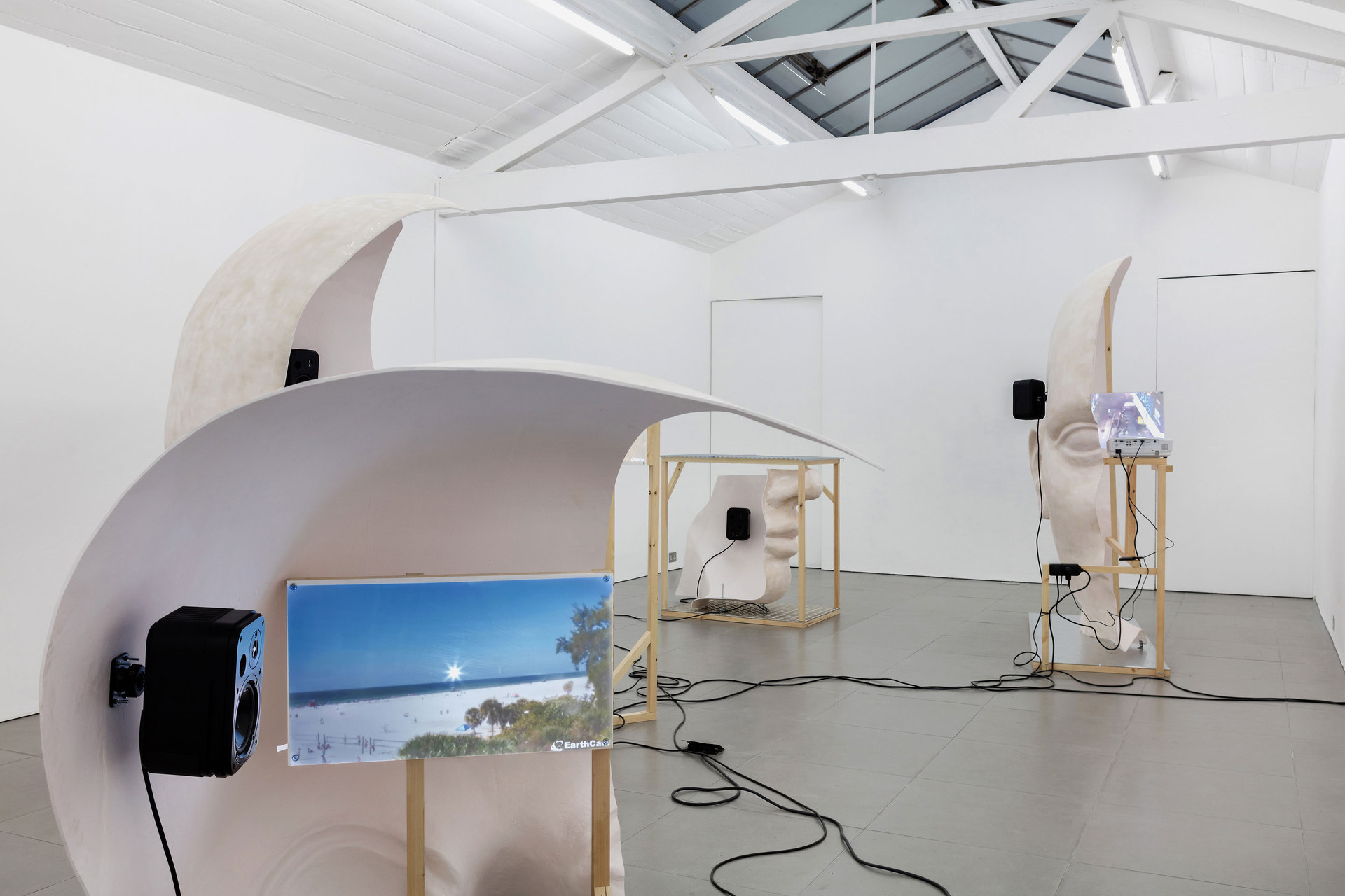 Anne de Vries, Submission, 2015, fibre glass resin, wood, perspex, metal, live stream webcams, four channel audio track: 16 mins 25 secs, dimensions variable