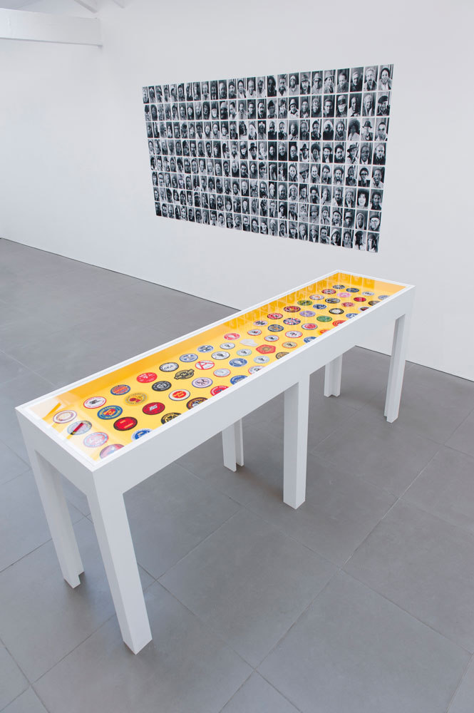 back: Sheldon Nadelman, terminal portraits, 1973 - 82, part of a larger work, photographic inkjet print on paper, 290 x 126 cm, front: Gary Eastwood, Northern Soul Patches, (purchased in 2013), 220 x 95 x 55cm, Cell Projects