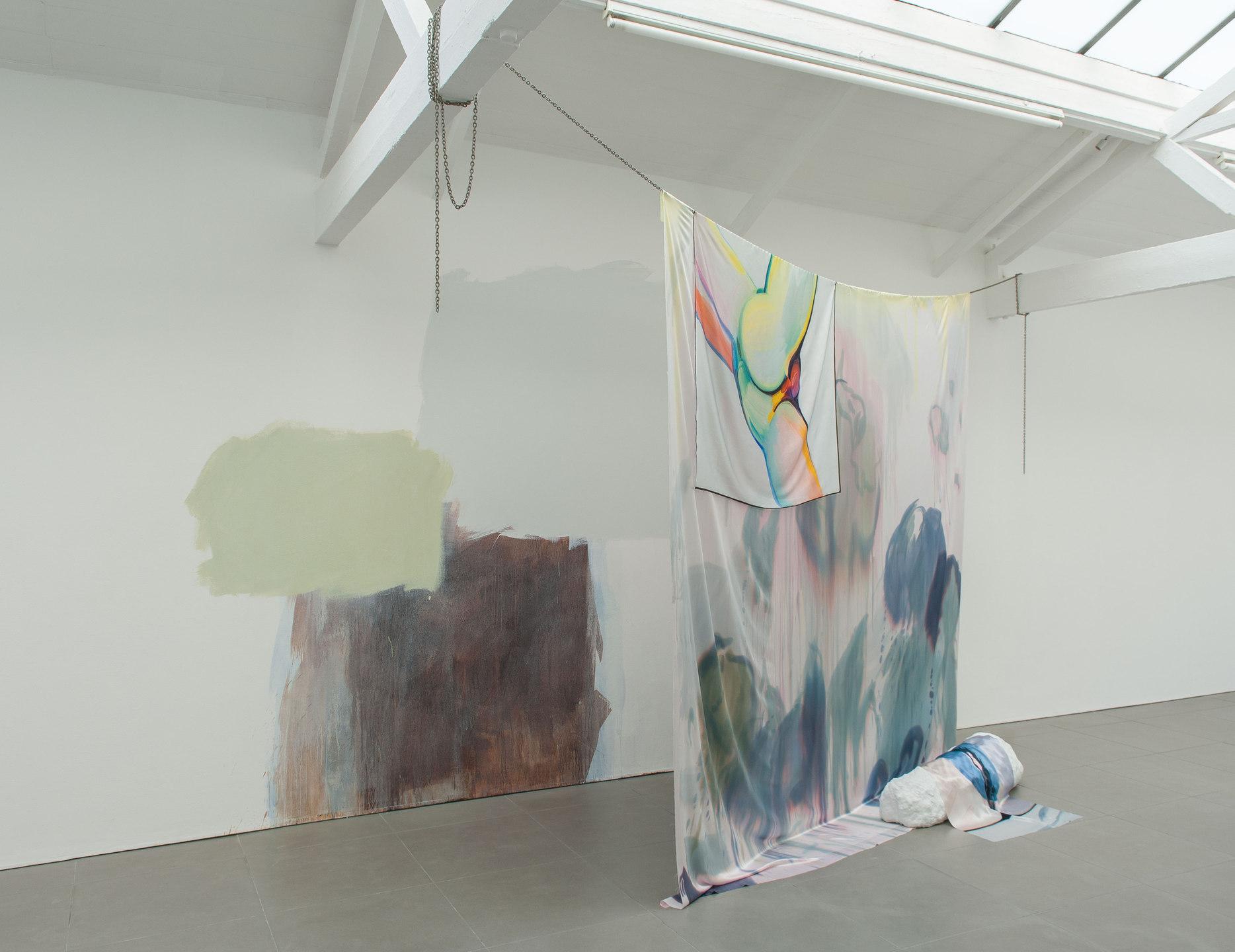Roman Fountain, 2014, Celia Hempton, digital print on silk satin, 60 x 72 cm, silk paint on silk satin, 275 x 290 cm, acrylic paint on wall. Katie Cuddon, painted ceramic, 125 x 27 x 32 cm, Cell Project Space