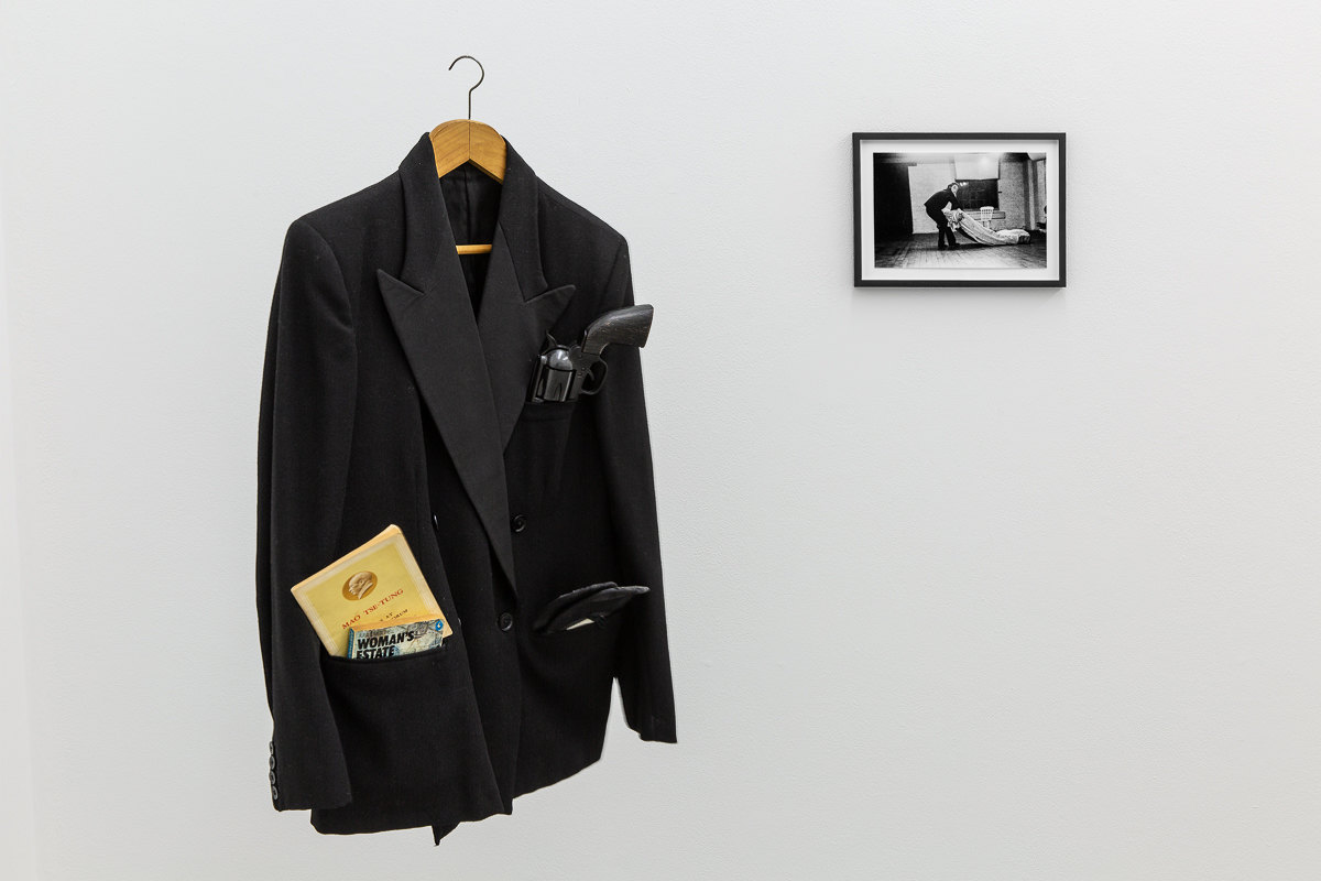 X6 Dance Space (1976-80): Liberation Notes, 'Dance Object revisited', 2020 [1977], Jacky Lansley, evening jacket, plastic gun, ballet shoes, books; 'Dance Object', 1977, Jacky Lansley, photograph by Geoff White, Cell Project Space, 2020