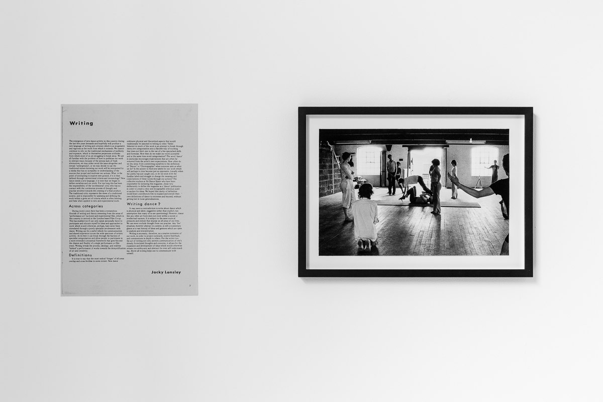 X6 Dance Space (1976-80): Liberation Notes, 'Writing', 1977, Jacky Lansley, New Dance magazine, Issue 1, p.3; Workshop at X6 Dance Space, 1976, Framed c-print, photograph by Geoff White, 35.5cm x 26cm, Cell Project Space, 2020