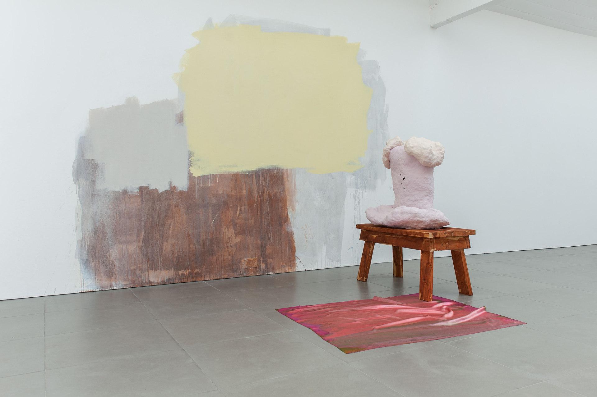 Exhibition, 2014, Celia Hempton, digital print on silk satin, 60 x 72 cm, acrylic paint on wall, Katie Cuddon, painted ceramic, painted wood, 100 x 123 x 54 cm, Cell Project Space