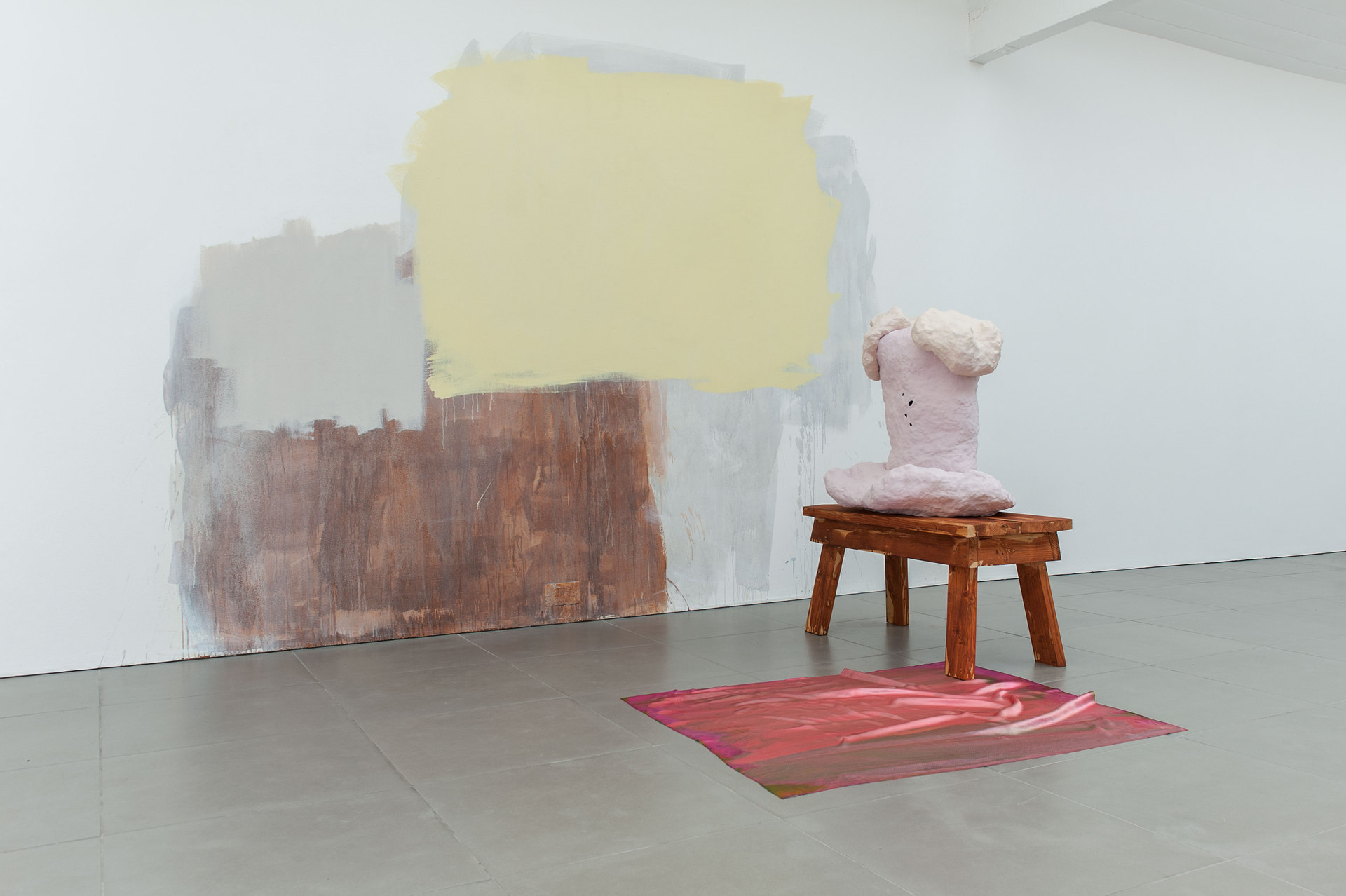 Exhibition, 2014, Celia Hempton, digital print on silk satin, 60 x 72 cm, acrylic paint on wall, Katie Cuddon, painted ceramic, painted wood, 100 x 123 x 54 cm, Cell Project Space