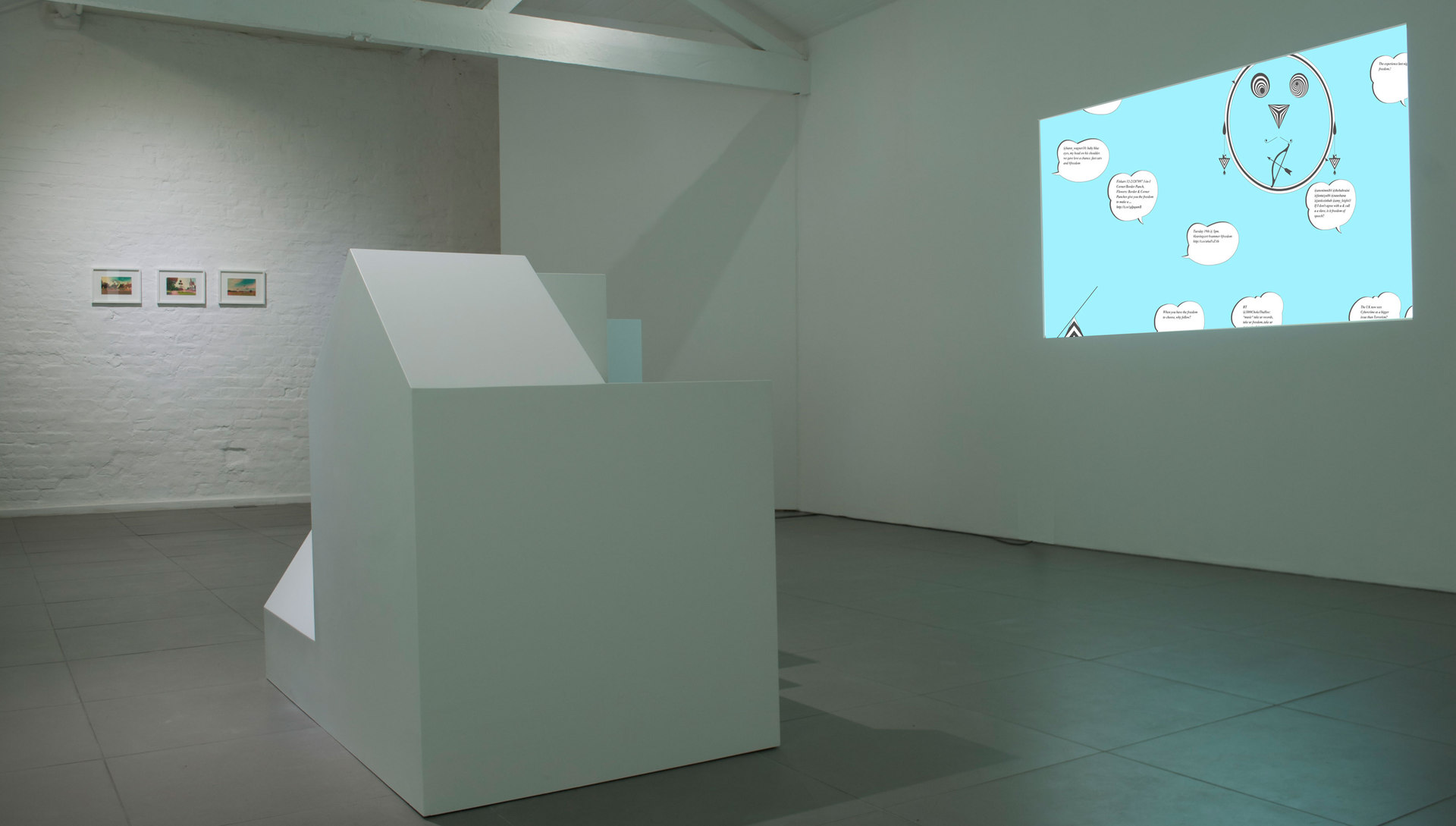 Angelo Plessas, Twilight Of The Idols, 'Re-TwitteringMachine.com, website and Twitter api, unique', 2012, http://re-twitteringmachine.com/, Mousepad Monument, mdf, digital projection, Cell Project Space