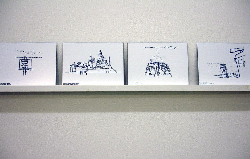 Simon Faithfull 'Antarctica Dispatches', 2004/5, 56 digital drawings laser-etched onto plastic laminate