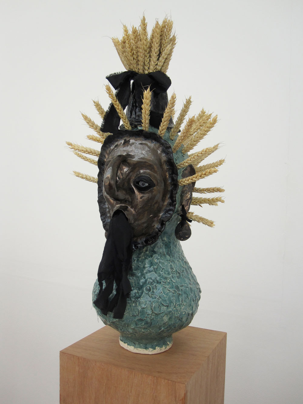 Jonathan Baldock, George(Boy), 2009, Ceramics cotton, glass eyes, clay ,corn, (h 1800mm x w.250mm x d250mm), Cell Project Space