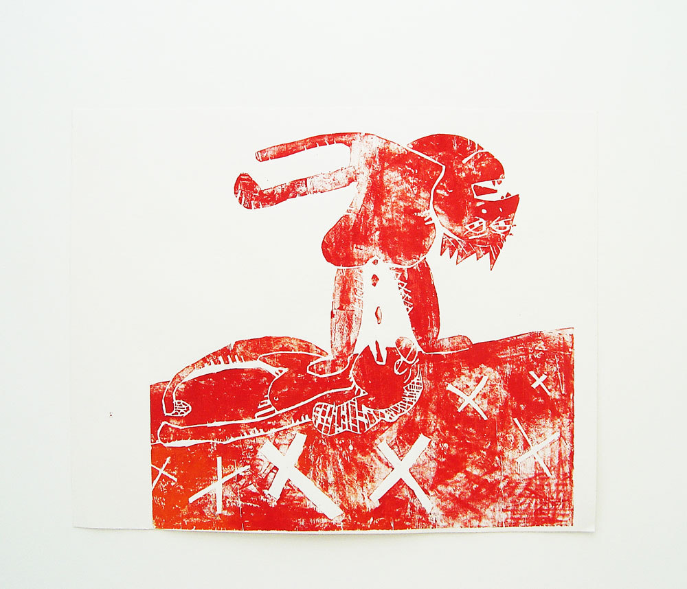 Cedar Lewisohn 'Poo Eaters' 2008 Acrylic Ink on Paper Wood Block Print (l.121cm x w.153cm) Wild Shapes, Cell Project Space