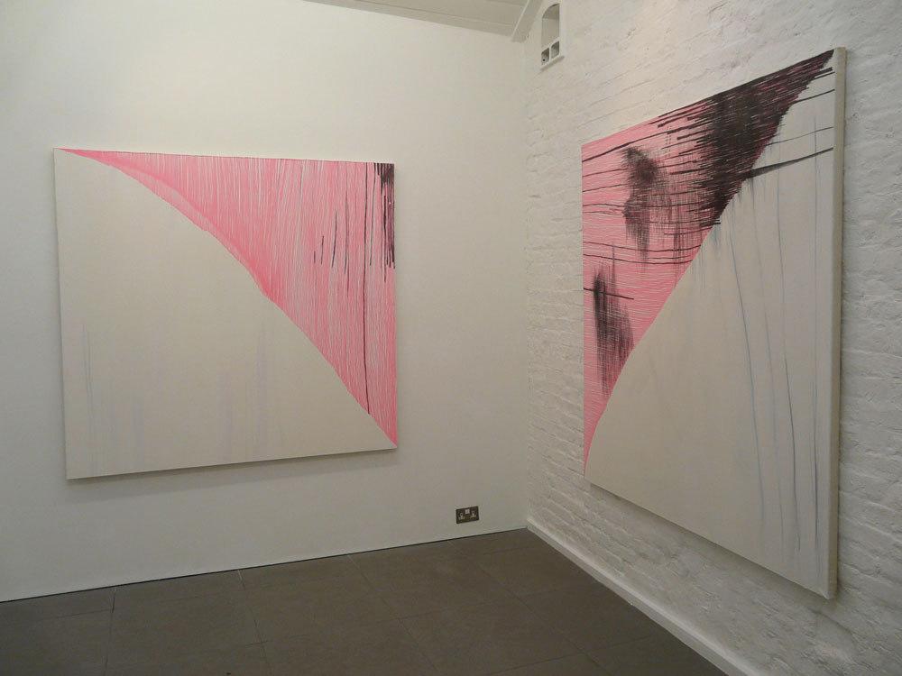 Charlie Danby 'Imperfect Square' 2009, Highlighter Pen, graphite pencil on canvas (h.170cm x w.160cm) & 'Cold Shoulder' 2009 (h.160cm x w.170cm)