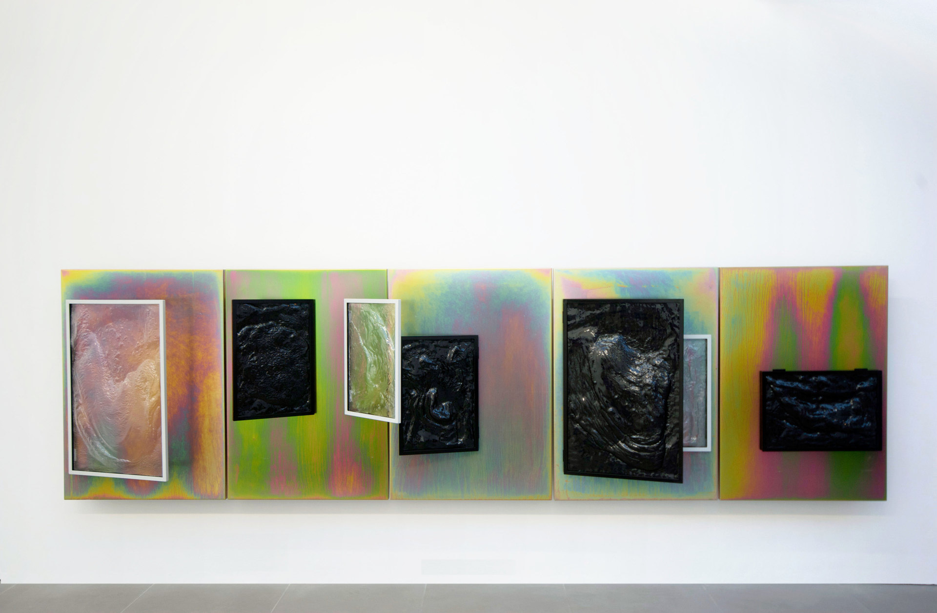 Nicolas Deshayes, Salts, 2012, 5 panels 100 x 70 cm each, steel panels, vacuum formed plastic in aluminum frames, Cell Project Space