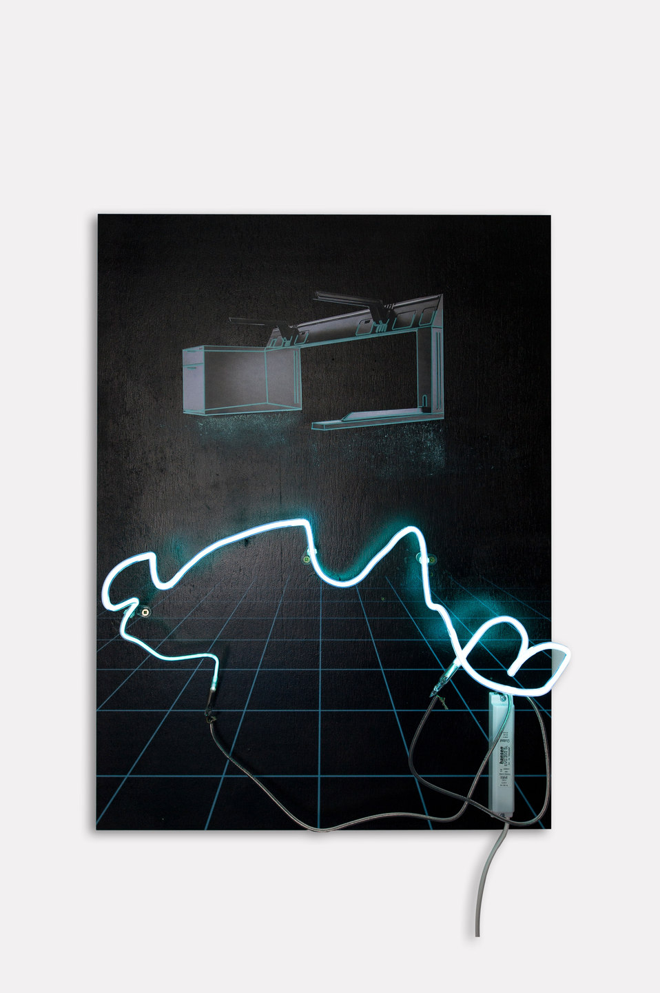 Florian Auer, Not Yet Titled (desk), 2013, print on black board, paper, chalk, neon, transformer, (80 x 59 x 13 cm)
