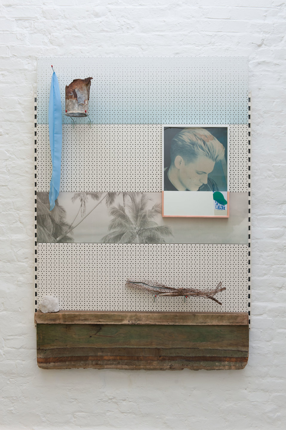 Gabriele Beveridge, See through you, 2013, Poster, rusted metal, healing crystal, frame, inkjet on pegboard, mirror, scarf, wood, pegs, 180cm x 125cm x 6cm, Cell Project Space