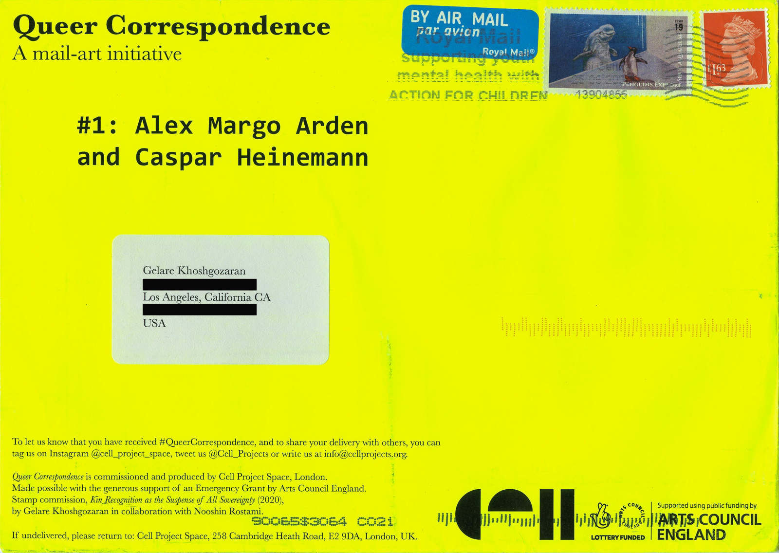 Alex Margo Arden & Caspar Heinemann, Queer Correspondence #1, 2020. Image submitted by Gelare Khoshgozaran, Los Angeles, USA.