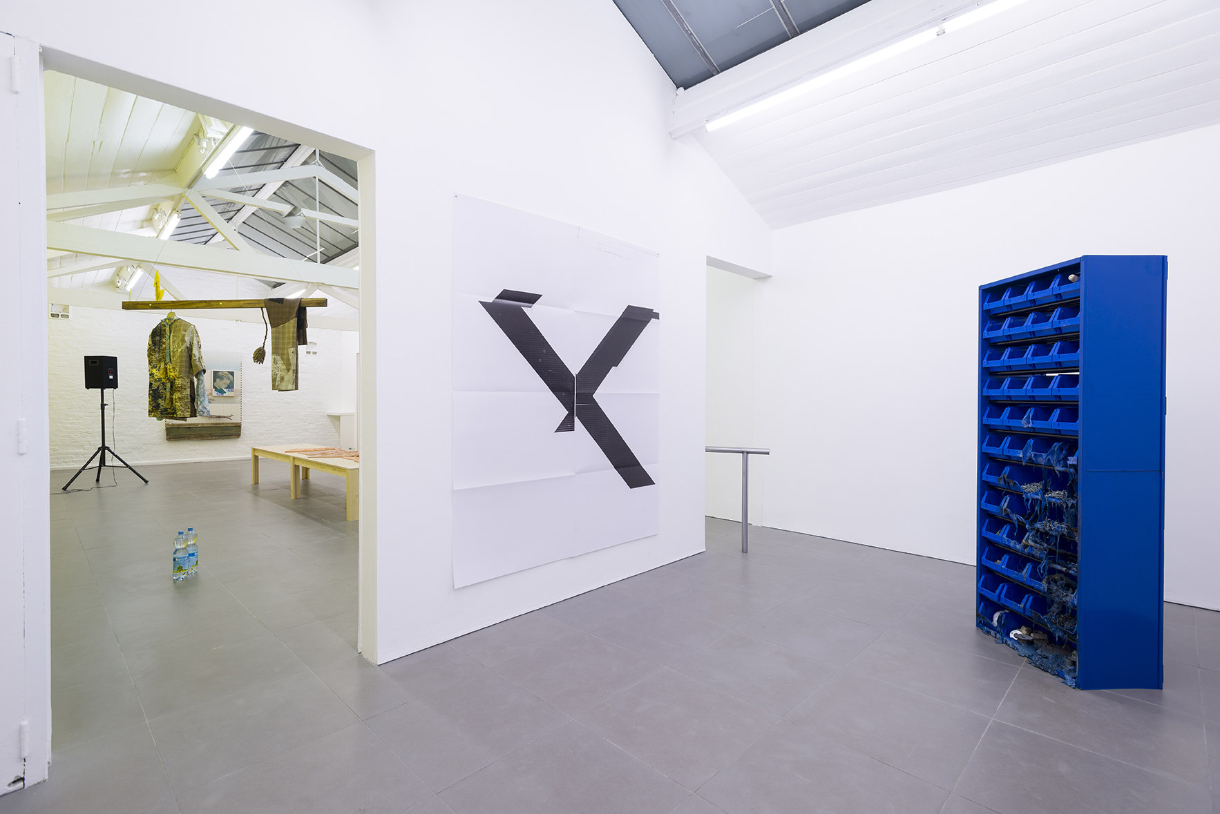 from left: Bas Van Den Hurk, Untitled, 2013, mixed media,  w. 170cm  x l. 55cm x h. variable, Wade Guyton Angled, 2013, Silk screen Print, 61 cm x 92 cm x 1.3 cm, Matias Faldbakken, Parts Cabinet, 2013, metal cabinet, plastic bins, screws, bolts miscellan