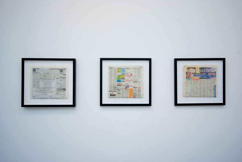Heather and Ivan Morison, framed newspaper with text insertion: 'San Francisco Chronicle', 'Evening Sentinel', Hackney Gazette', 2009