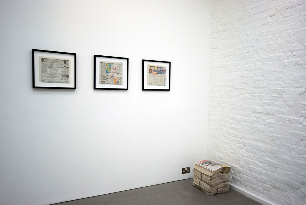 Heather and Ivan Morison, framed newspaper with text insertion:  'San Francisco Chronicle', 'Evening Sentinel', 'Hackney Gazette', 2009