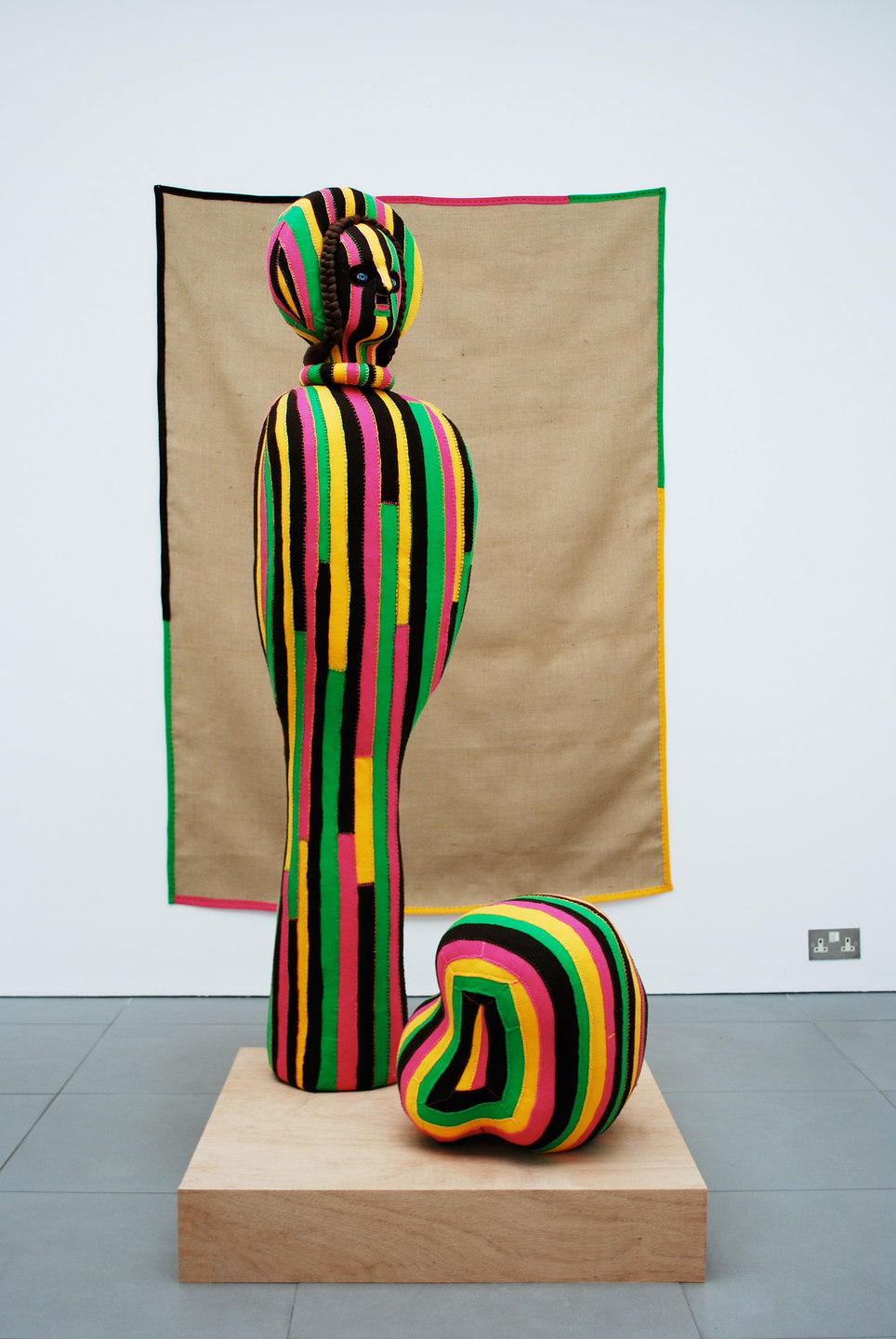 Jonathan Baldock, Mother and Child, 2010, Felt, thread, foam, wood, acrylic paint, Hessian, dolls eyes. (h.1900mm x w.840mm x d.840mm), Cell Project Space