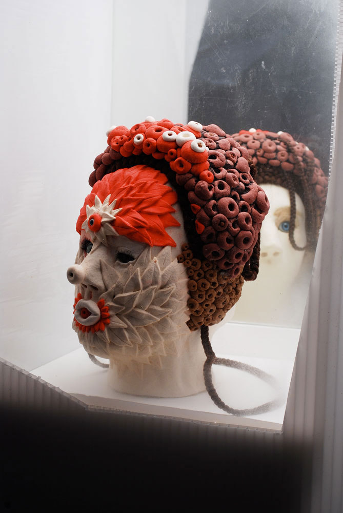 Jonathan Baldock 'Bells Palsy', 2008, Sour dough, Dolls Eyes, Hair, Foam, Pins, Food dye