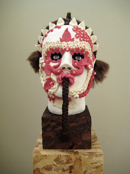 Jonathan Baldock, Andromeda, 2007, Salt-dough, pins,ribbon, dolls eyes, polystyrene, colouring, paint, synthetic hair, 29 x 42 x 26 cm plinth 121 x 42 x 26, Cell Project Space