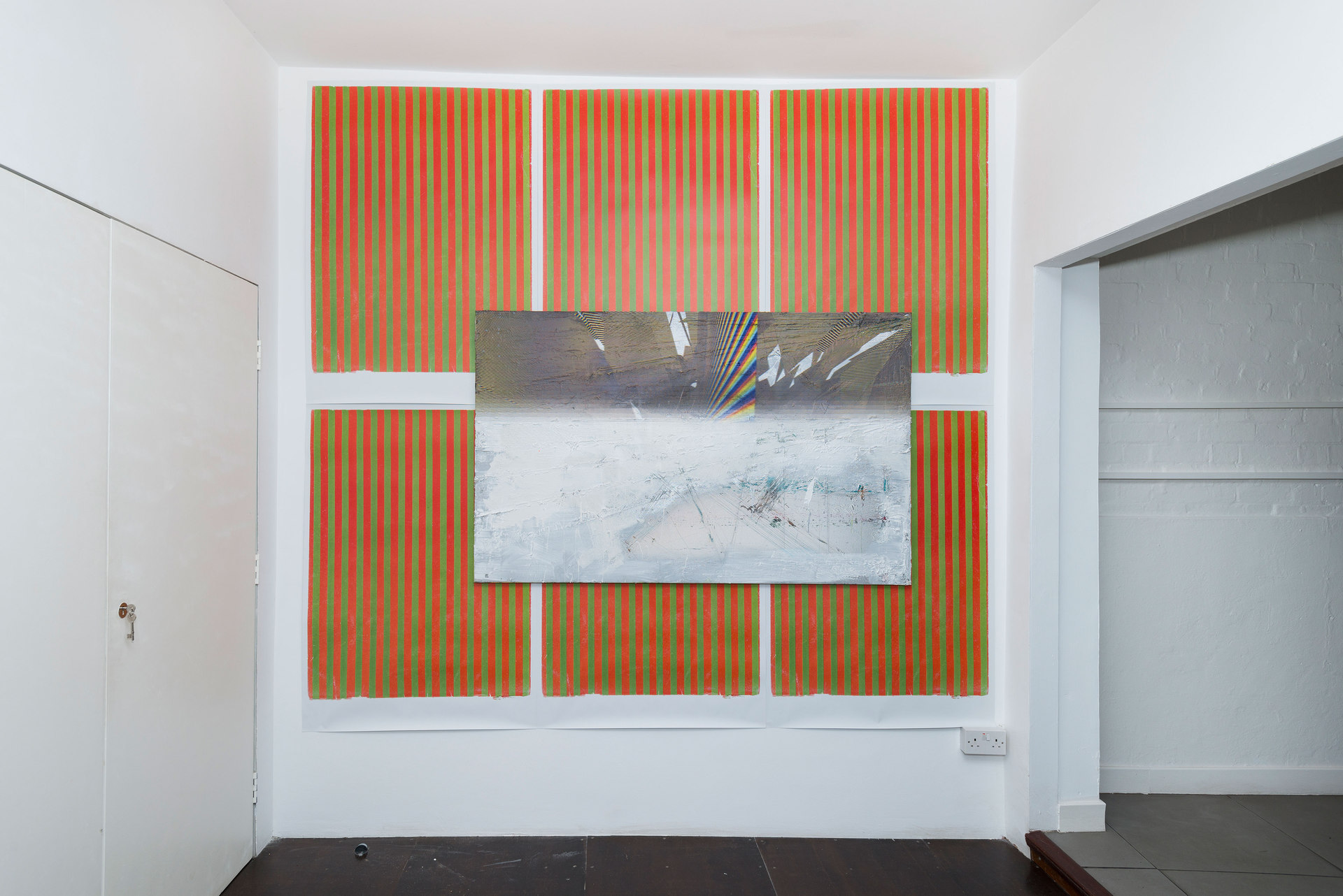 Koen Delaere, Untitled, 2013, Digital UV print, Oil on Canvas, 97cm x 160cm, Wade Guyton, Untitled, 2012, digital litho print edition 8/100  84cm x 118cm, Cell Project Space