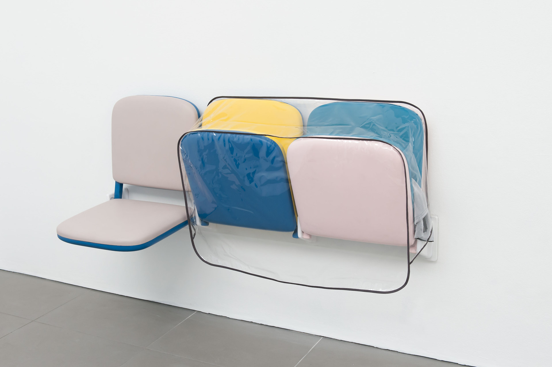 Magali Reus, Parking (Jogs), 2013, polyester resin, pigments, clear PVC, cotton, Airtex, 57 cm x 140 cm x 48 cm, Cell Project Space
