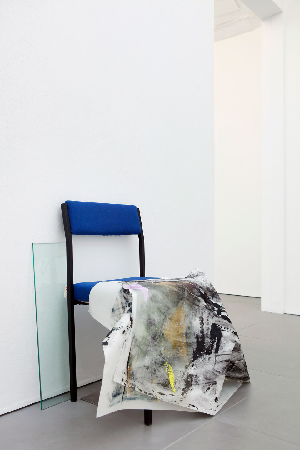 Marianne Spurr, The blue of distance, 2013, lino, metal, emergency blanket, waxed cotton, MDF, cable, oil paint on newsprint, wire, ceramic tiles, clay, ink on acetate, plastic tubing, string, acrylic paint mould, blind, chair, acrylic on gauze, glass