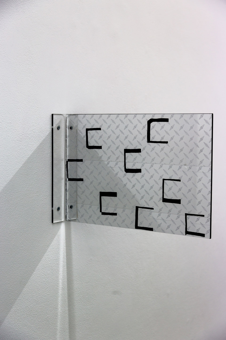Marte Eknæs, Reboot Horizon, 'Alternative Solutions Diamond Plate', 2013, plexiglass, custom vinyl sticker, diamond plate decal, Cell Project Space