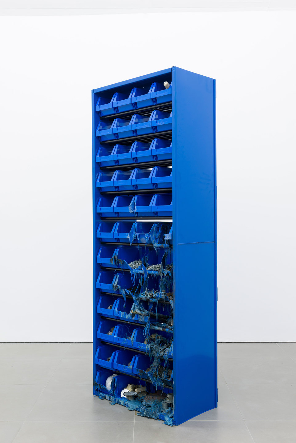 Matias Faldbakken, Parts Cabinet, 2013, metal cabinet, plastic bins, screws, bolts miscellaneous, 200 x 70.5 x 37cm, Cell Project Space