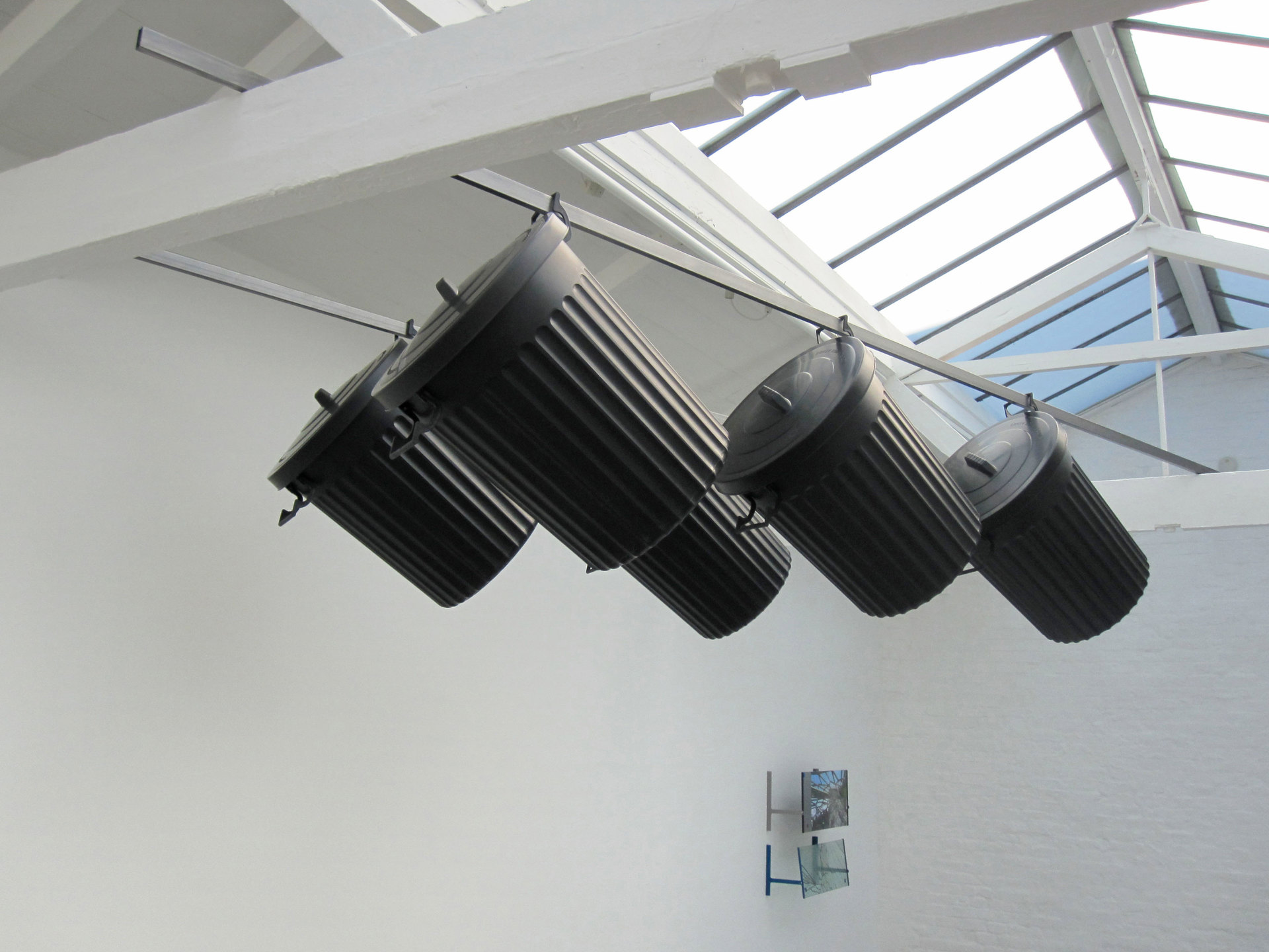 Matthew Smith, Word For Pleasure 2011, Plastic dustbins, steel. Dimensions variable, Cell Project Space