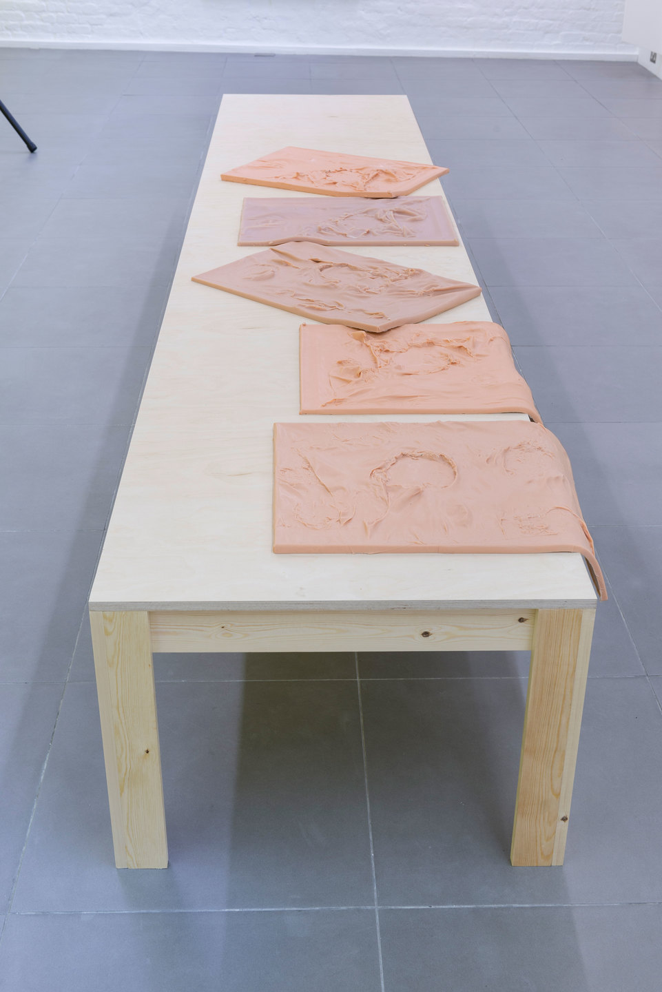 Nikolas Gambaroff, Untitled, 2013, Wooden table with 5 cast silicon works, Table: 77 cm x 381 cm x 55 cm, each silicon work: 61 cm x 46 cm x 3 cm, Cell Project Space