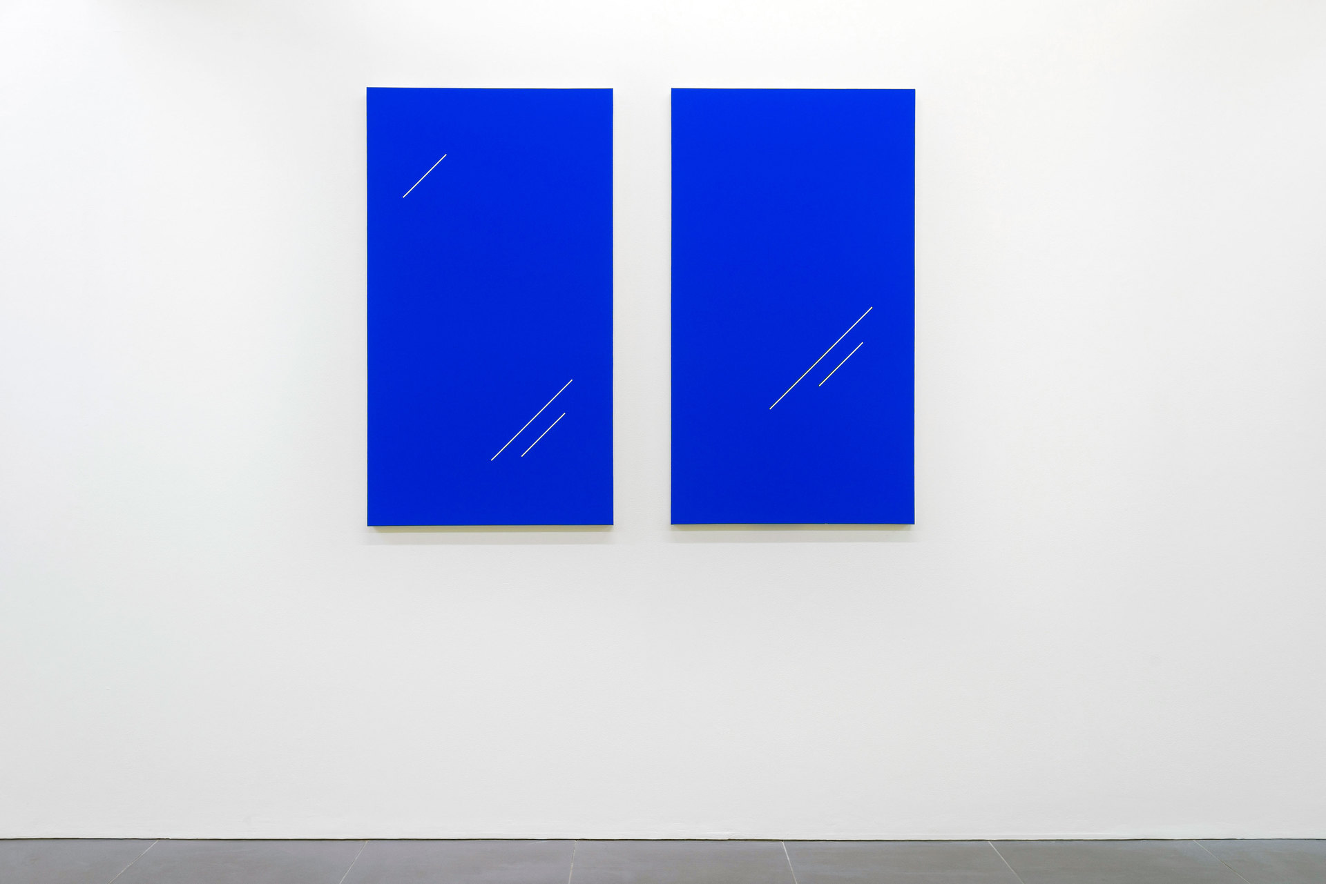 Paul Cowan, BCUASEE THE SKY IS BULE, 2013, Chroma-key blue paint on canvas, 127 cm x 72.4 cm, Cell Project Space