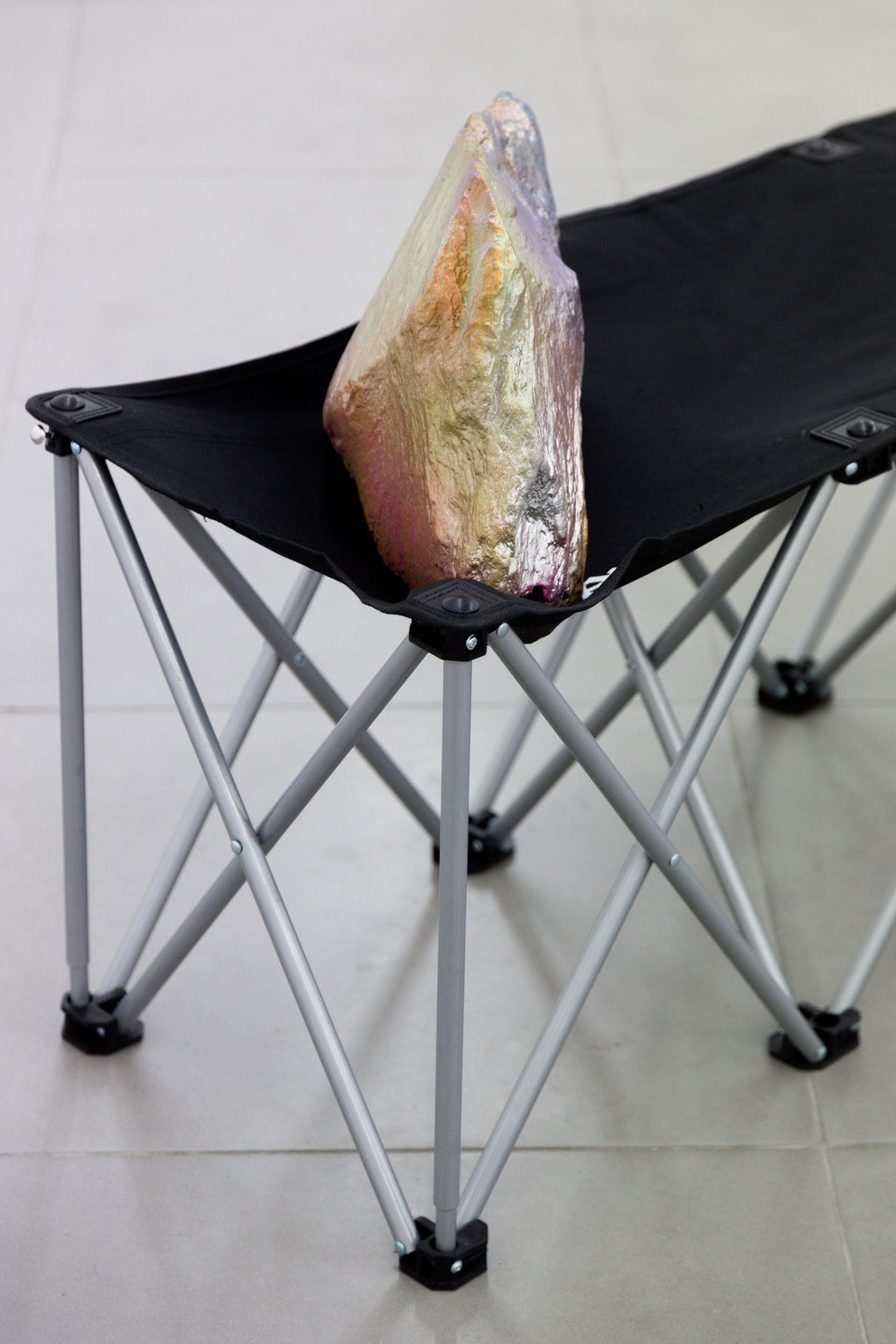 Santiago Taccetti, Reboot Horizon, 'Untitled (Chicago Boys I)', [detail], 2014,  enamel on stone, aluminium, steel, plastic, nylon, Cell Project Space