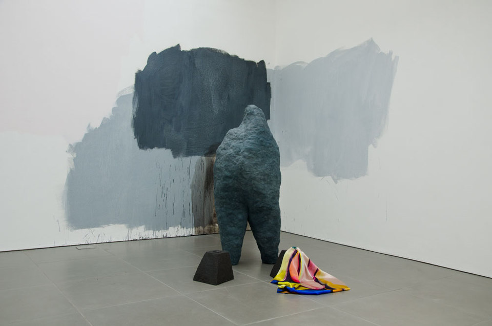 Penumbra, 2014, Celia Hempton, digital print on silk satin, 60 x 72 cm, acrylic paint on wall. Katie Cuddon, dimensions variable ceramic, 125 x 27 x 32 cm, ceramic wax (2x) 21 x 19 x 19 cm, Cell Project Space