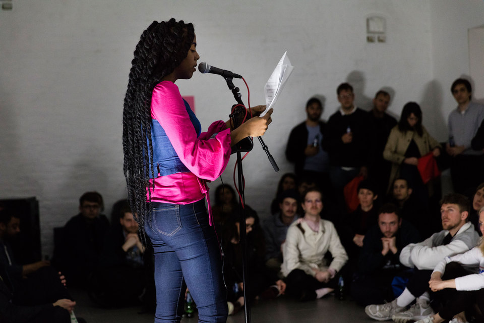 "Juliana Huxtable reading, part of ""Reading Pleasure"" event, Cell Project Space, 2017"