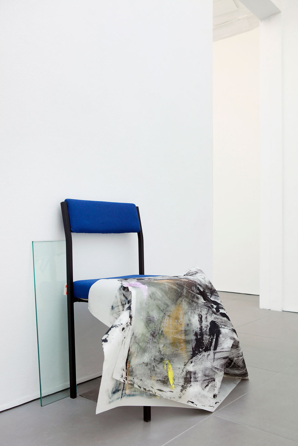 Marianne Spurr, The blue of distance, 2013 (from the series Workstations), lino, metal, emergency blanket, waxed cotton, MDF, cable, oil paint on newsprint, wire, ceramic tiles, clay, ink on acetate, plastic tubing, string, acrylic paint mould, blind, cha