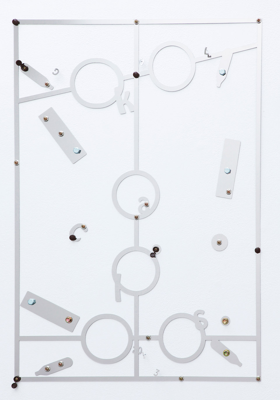 George Henry Longly, Calorie Counter (Weight Watchers), 2013, mirror polished steel, coach bolts, screws, screw caps, 55 x 80 x 1 cm, Cell Project Space