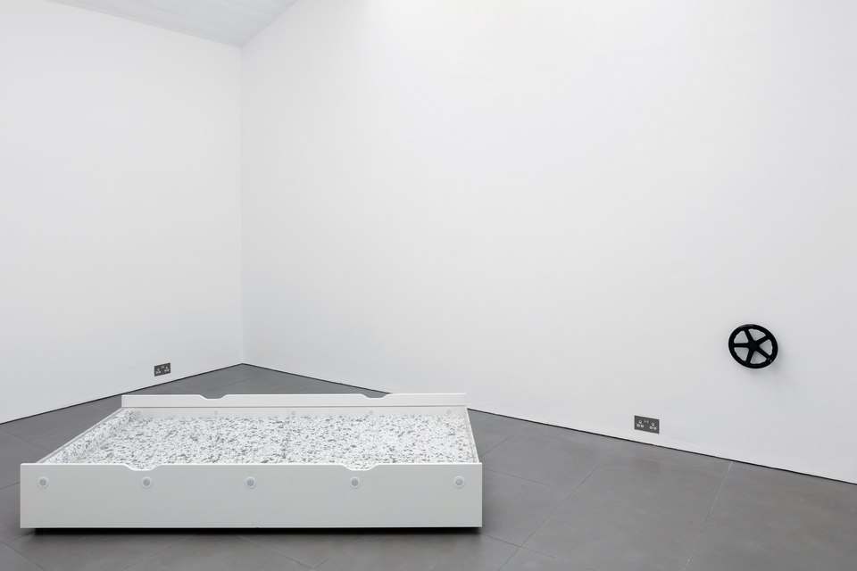 Aude Pariset, GREENHOUSES, 'Promession® #2' Flaxa underbed, perspex, wheels, Styrofoam, Morio mealworms, vents, MDF, 90 x 202 x 31cm, 2016, Cell Project Space
