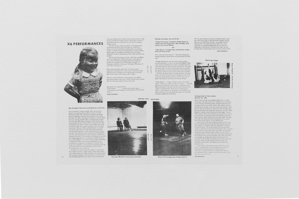 'X6 Performances', 1977, New Dance magazine, Issue 1, p. 12-13, X6 Dance Space (1976-80): Liberation Notes, 2020, Cell Project Space