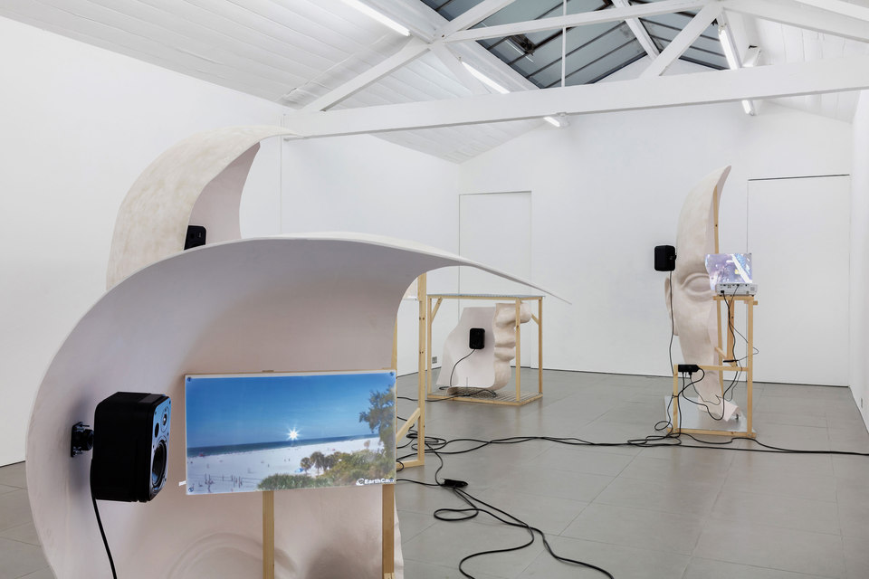 Anne de Vries, Submission, 2015, fibre glass resin, wood, perspex, metal, live stream webcams, four channel audio track: 16 mins 25 secs, dimensions variable