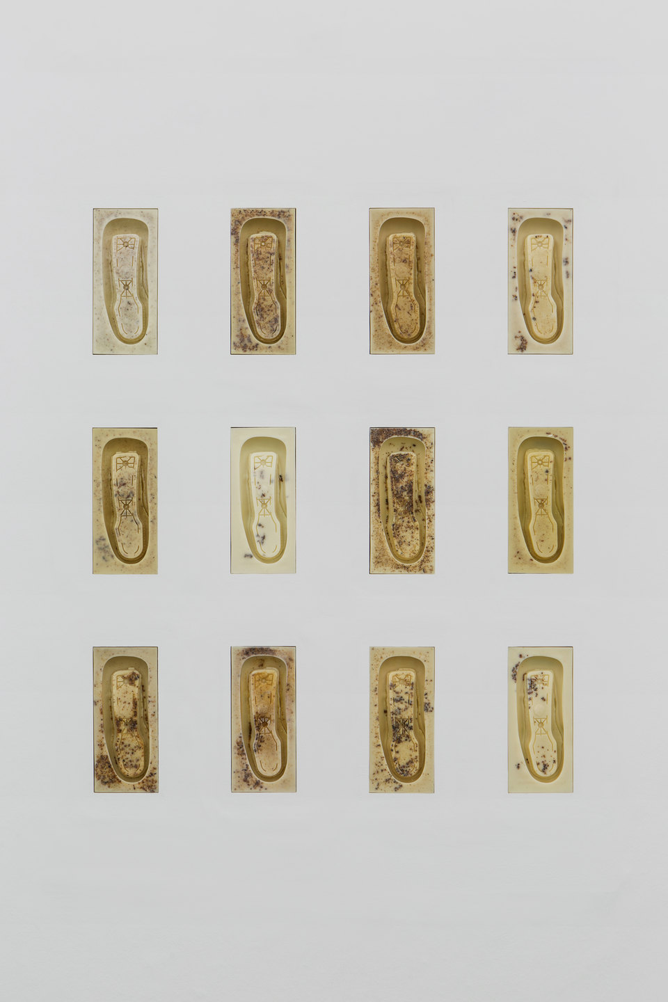 Patricia L. Boyd, 'Aeron Armrest I-XII', 2019, Used restaurant grease, wax, damar resin 31.1 x 13.7cm each, Cell Project Space