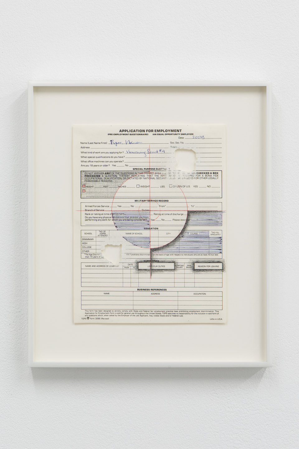 Adrian Piper, 'Vanishing Point #4', 2009, Black and red graphite pencil, blue graphite pencil on application for employment form, sanded with sandpaper, 27.9 x 21.6cm, Civic Duty, 2019, Cell Project Space