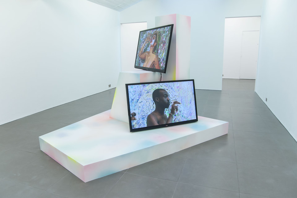 Adham Faramawy, Hydra, 2014 MDF, spray paint, (l. 237 cm x w. 232 cm x h. 188 cm), Vichy Shower, 2014, two channel video, duration: 9 minutes, 47 seconds, HYDRA, 2014, Cell Project Space